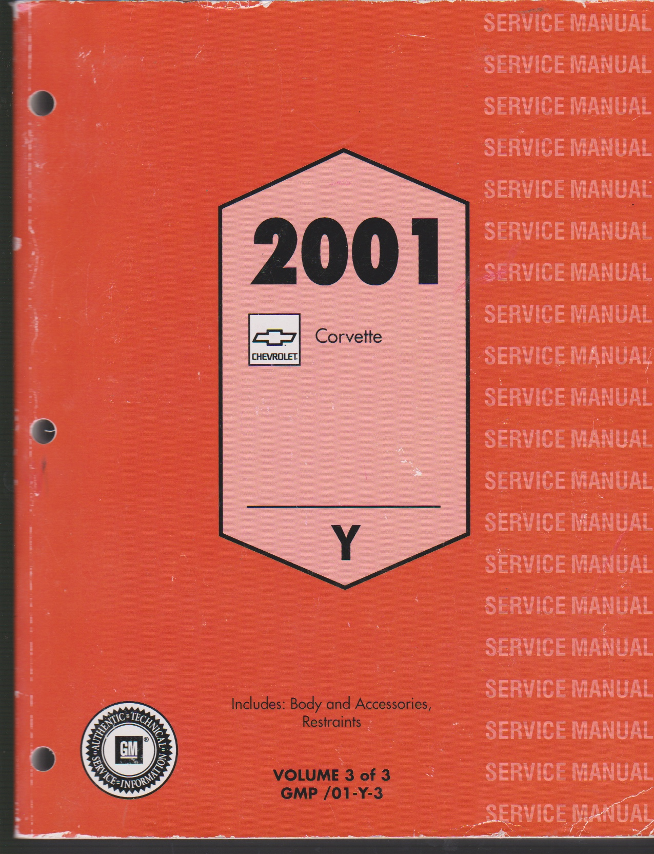 Image for 2001 CHEVROLET CORVETTE SERVICE MANUAL. VOLUME 3. INCLUDES BODY AND ACCESSORIES, RESTRAINTS